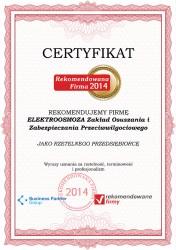 Certyfikat Rekomendowana Firma